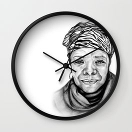 Maya Angelou - BW Original Sketch Wall Clock