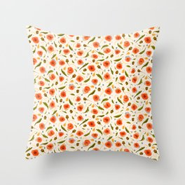 Walk in a Poppy Field, Vintage Cream, Blue Watercolor amongst Red Poppies,Flowers, Leaves & Seedpods Throw Pillow