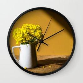 Good morning sunshine- rapeseed flowers and white mug Wall Clock