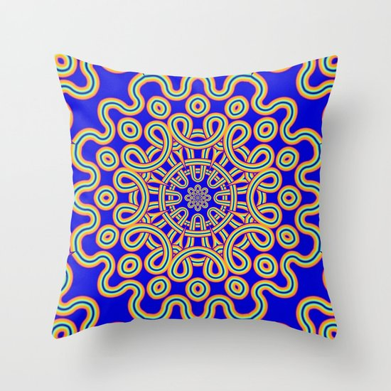 The Colourful Curly Mandala Throw Pillow