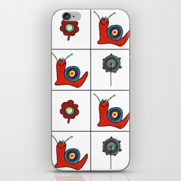 Abstract Snail and Flowers Grid Design iPhone Skin