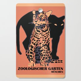 Retro vintage Munich Zoo big cats Cutting Board