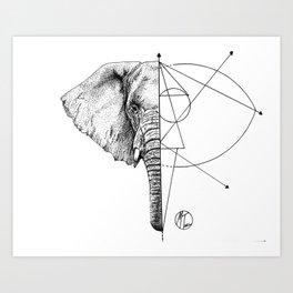 elephant lines Art Print