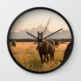 Horses Grazing Below the Tetons Wall Clock