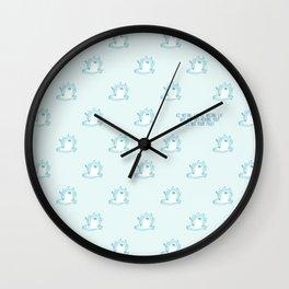 Kawaii Ice melting cat pattern Wall Clock