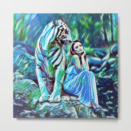 Beauty And The White Tiger | Fantasy Art - Painting Metal Print