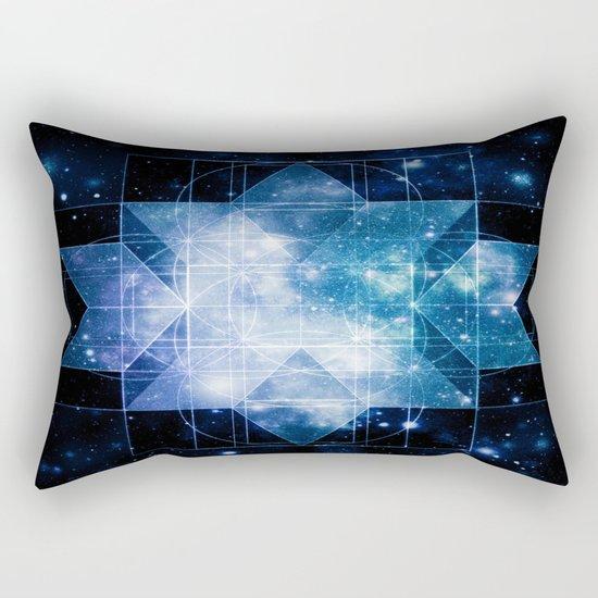 galaxy sacred geometry Turquoise Teal Rectangular Pillow