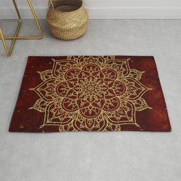 Deep Red & Gold Mandala Rug