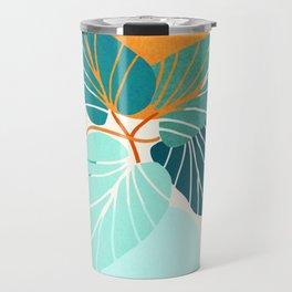 Tropical Symmetry / Retro Aqua Orange Palette Travel Mug