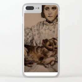 watercolor portrait of victorian girl with dog Clear iPhone Case