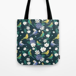 Budgies and Cosmos Flowers on Dark Green Tote Bag
