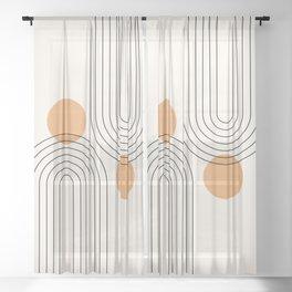 Mid Century Modern Geometric 61 (Rainbow and Sun Abstraction) Sheer Curtain