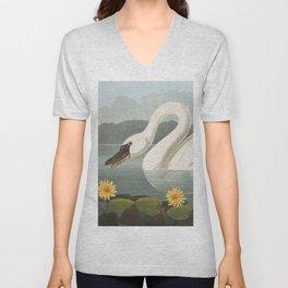 Common American Swan by John James Audubon Unisex V-Neck