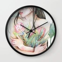 Lena Holding Proteas and Surrounded by Lotus Leaves Wall Clock
