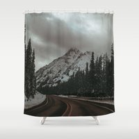 snowboard Shower Curtains featuring Mountain Road by Leah Flores