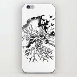 Hand designed Celtic pattern tree with knots and crows iPhone Skin