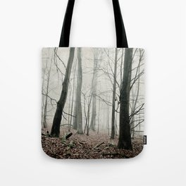 bare trees in fog Tote Bag