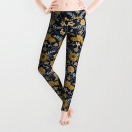 Navy Blue, Turquoise, Cream & Mustard Yellow Dark Floral Pattern Leggings