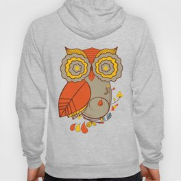 Abstract Colorful Floral Owl, Cute Owl Sticker, Terracotta Colors, Orange Yellow Gray And  Brown Hoody