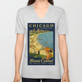 Chicago Vacation City, 1920s Travel Poster Unisex V-Neck