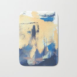 Lemon drop: a minimal, abstract mixed-media piece in yellow and blue Bath Mat
