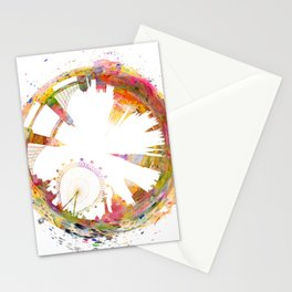 Abstract London skyline watercolors art Stationery Cards