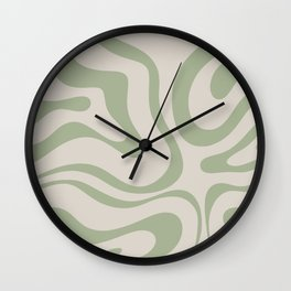Liquid Swirl Abstract Pattern in Almond and Sage Green Wall Clock