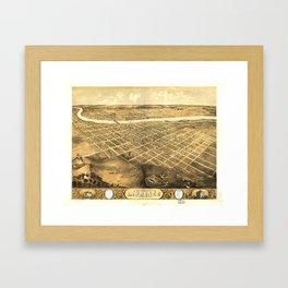Bird's Eye View of Lawrence, Kansas (1869) Framed Art Print