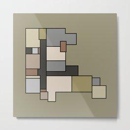 Neutral Abstract Floor Plan Art Metal Print