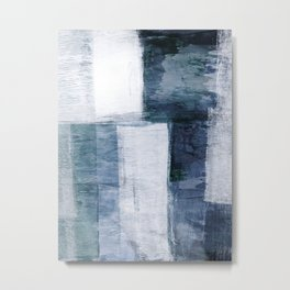 Quilted Blue Geometric Minimalist Abstract Painting Metal Print