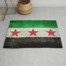 Independence flag of Syria, vintage retro style Rug