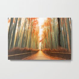 Arashiyama Bamboo Forest in Kyoto, Japan Metal Print