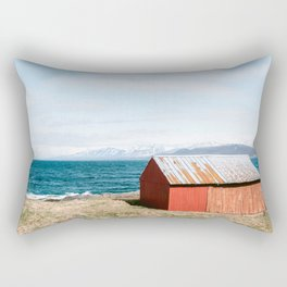 Red cabin at the mountains of Norway || nature landscape art photo scandinavia modern || Color travel photography print Rectangular Pillow