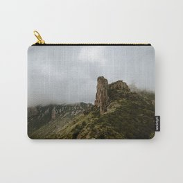 Foggy Mountaintop at Lost Mine Trail, Big Bend - Panoramic Carry-All Pouch