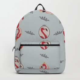 the royal pink flamingo king and queen pattern blue Backpack