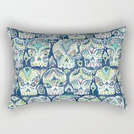 Indigo CARPE DIEM SKULLS Watercolor Rectangular Pillow