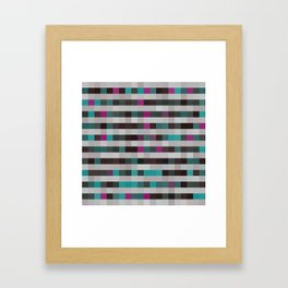 pixels pattern with colorful squares and stripes Framed Art Print