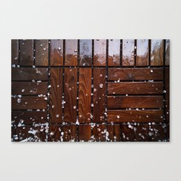 Cool Wooden Plywood texture with Snowy droplet Canvas Print