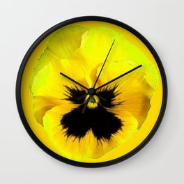 LARGE YELLOW  PANSY ON GOLDEN YELLOW COLOR Wall Clock