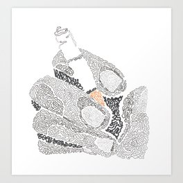 cigarette on hand Art Print