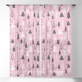 Pink Christmas Tree Forest Pattern Sheer Curtain