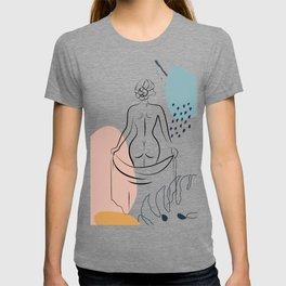 Woman's Back Print Female Body Art, One Line Drawing, Female Nude Art, Erotic Minimal Art Print T-shirt