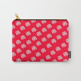 White Rose, Red Background Carry-All Pouch
