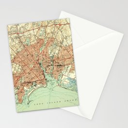 Vintage Map of Bridgeport Connecticut (1951) 2 Stationery Cards