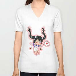 """Chibi Hestia from """"Danmachi""""/""""Is It Wrong To Pick Up Girls In A Dungeon?"""" Unisex V-Neck"""