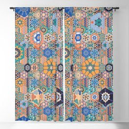 Hexagons Tiles (Colorful) Blackout Curtain