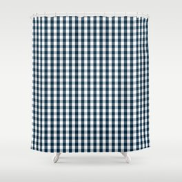 Silent Night Blue Christmas Large Gingham Check Shower Curtain