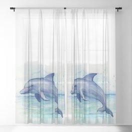 Dolphin Watercolor Sea Creature Animal Sheer Curtain