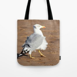 Seagull in a windy day with ruffled feathers Tote Bag