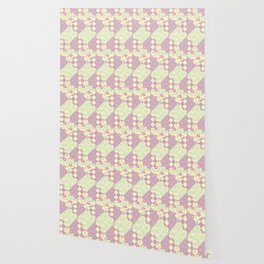 Pink, Yellow & Green Patchwork Pattern of Squares & Triangles Wallpaper